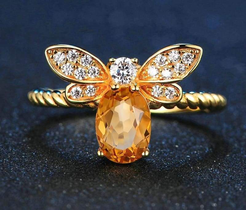 1ct Natural Oval Citrine Silver Ring - Resizable - Rings