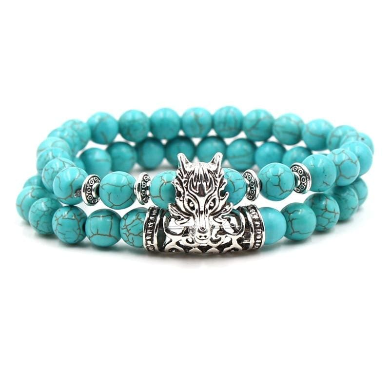 2PCS/Set Silver Color Buddha Bracelet - Dragon - Strand Bracelets