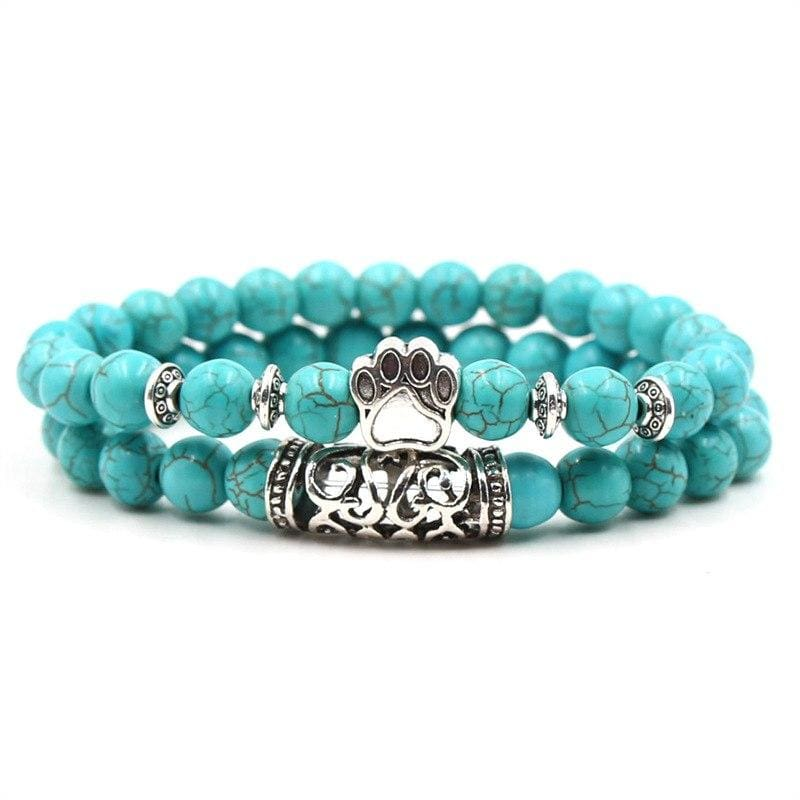 2PCS/Set Silver Color Buddha Bracelet - Footpad - Strand Bracelets