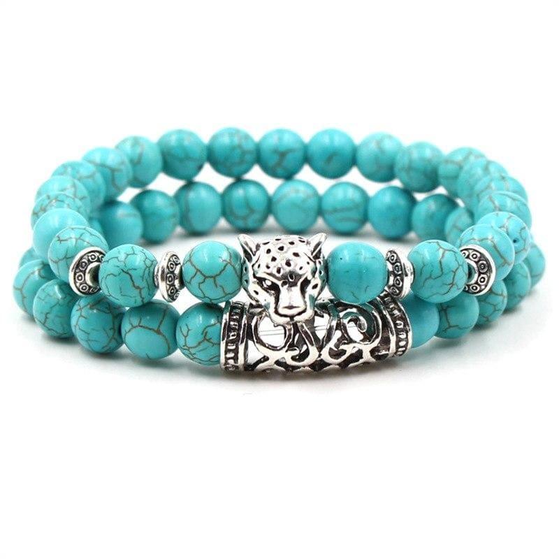 2PCS/Set Silver Color Buddha Bracelet - Leopard - Strand Bracelets