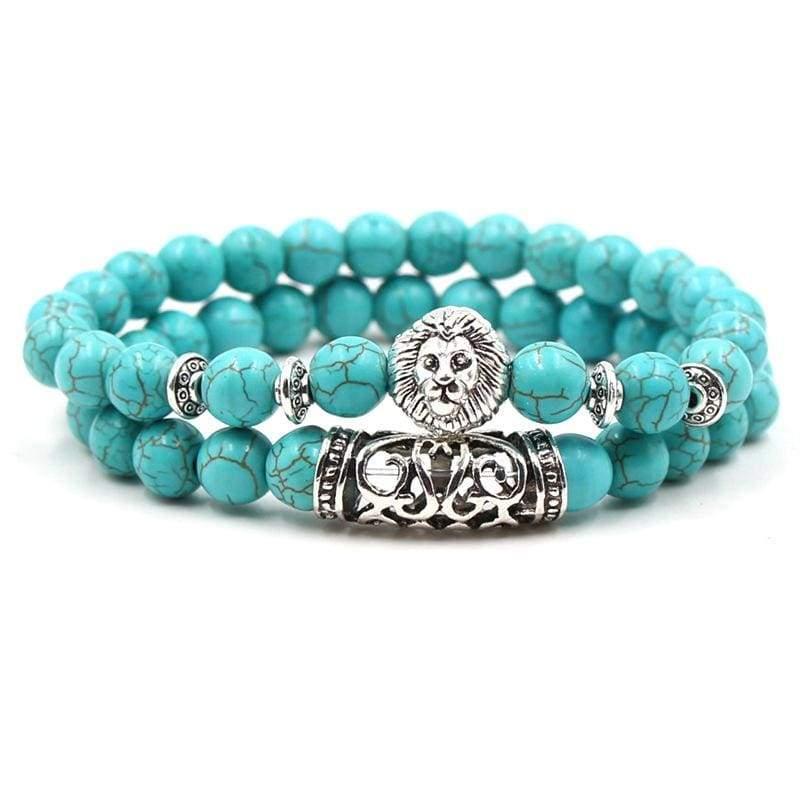 2PCS/Set Silver Color Buddha Bracelet - Lion 1 - Strand Bracelets