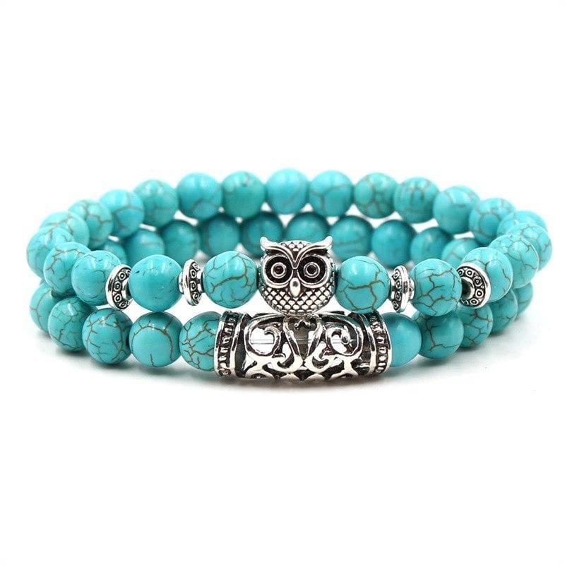 2PCS/Set Silver Color Buddha Bracelet - Owl - Strand Bracelets