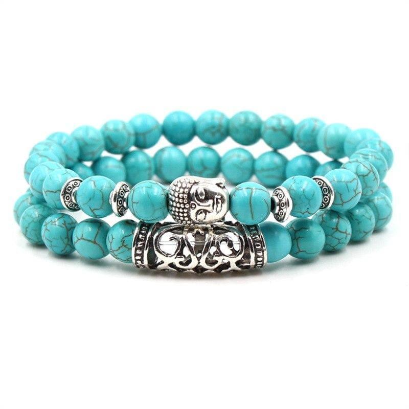 2PCS/Set Silver Color Buddha Bracelet - Buddha - Strand Bracelets