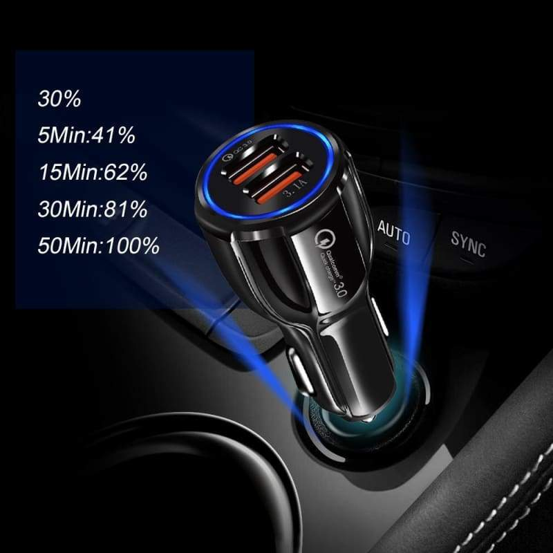 2 Port USB Fast Car Charger for Smart Phone - Car Chargers