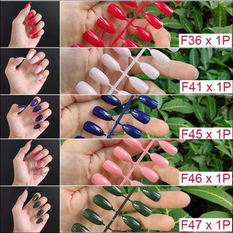 432 pcs/pack Mixed 18 Colors Full Short Round Nail Tips - F8-5PCs Mix Colors - False Nails