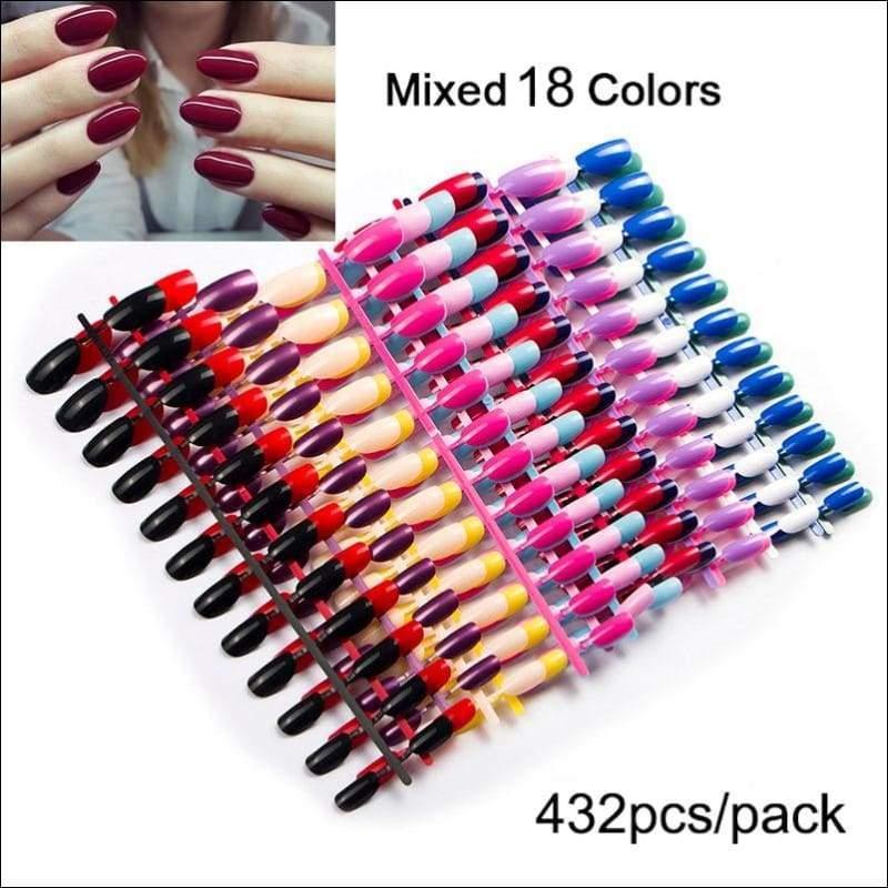 432 pcs/pack Mixed 18 Colors Full Short Round Nail Tips - 18 Random Colors - False Nails