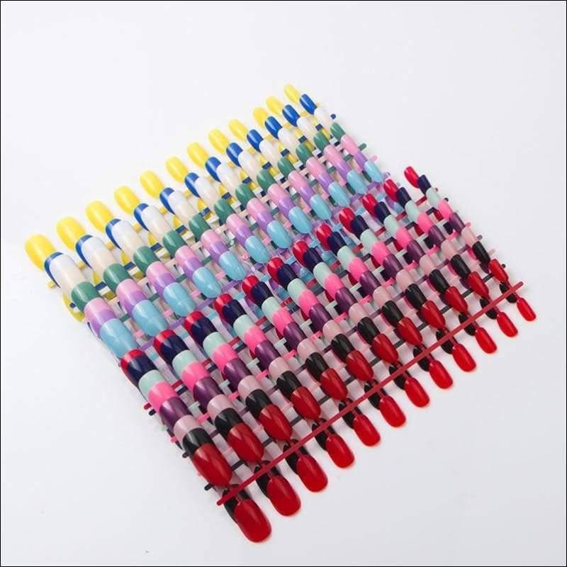 432 pcs/pack Mixed 18 Colors Full Short Round Nail Tips - False Nails