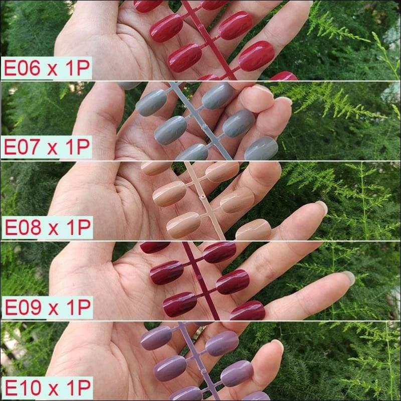 432 pcs/pack Mixed 18 Colors Full Short Round Nail Tips - M-5PCs Mix Colors - False Nails
