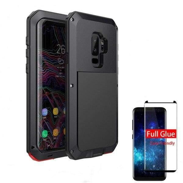 5D Curved Protective Luxury doom Armor Case Metal Samsung - Black / For S10Plus / add Full Glue Glass - Fitted Cases