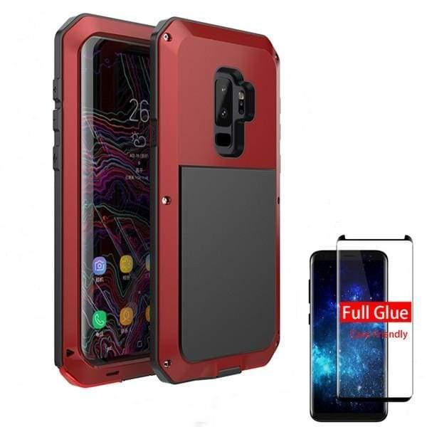5D Curved Protective Luxury doom Armor Case Metal Samsung - Red / For Note 8 / add Full Glue Glass - Fitted Cases