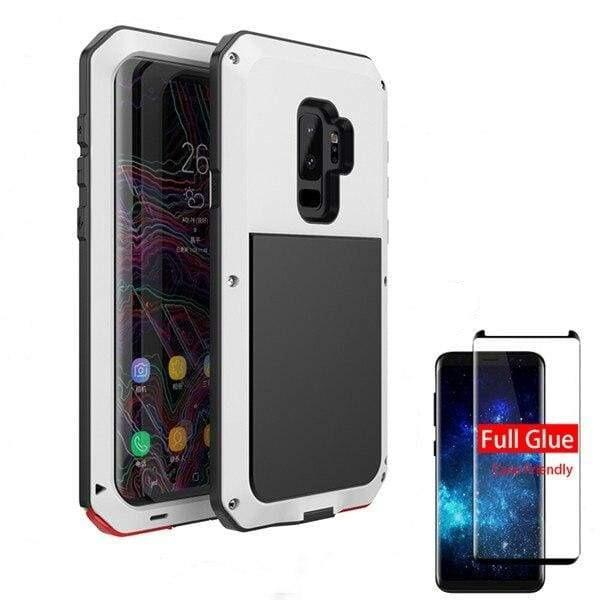 5D Curved Protective Luxury doom Armor Case Metal Samsung - White / For Note 8 / add Full Glue Glass - Fitted Cases
