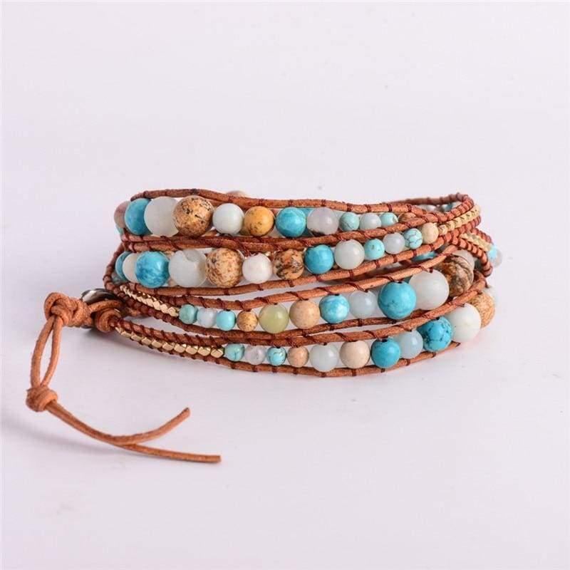 5X Leather Wrap Amazonite Gold Bracelet - Wrap Bracelets