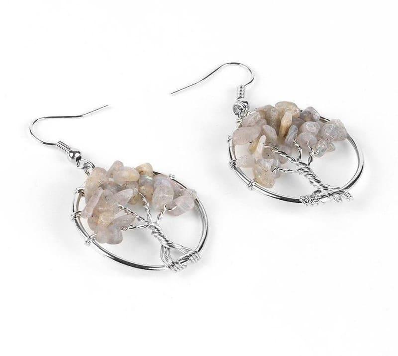 7 Chakra Healing Crystal Dangle - Spectrolite - Drop Earrings