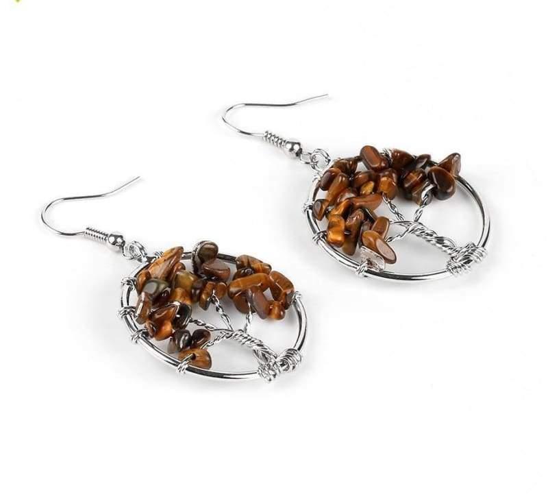 7 Chakra Healing Crystal Dangle - Tiger Eye - Drop Earrings
