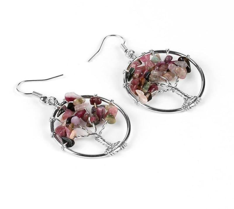 7 Chakra Healing Crystal Dangle - Tourmaline - Drop Earrings