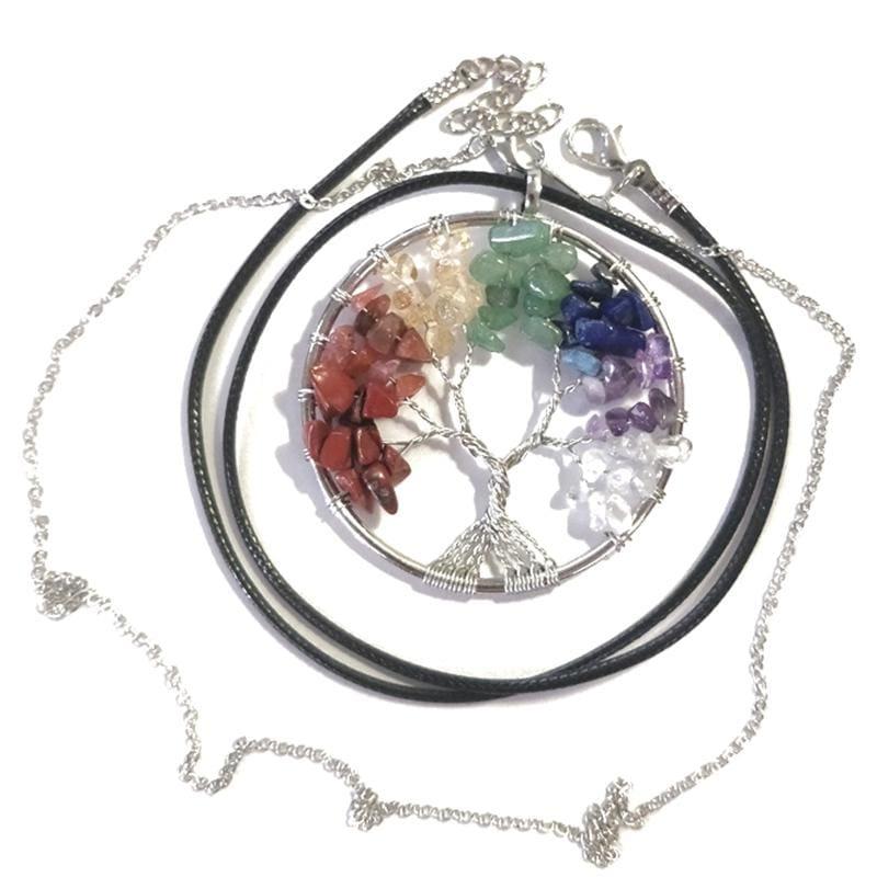 7 Chakra Healing Crystal Necklace Pendants - 7 chakra tree - Pendants