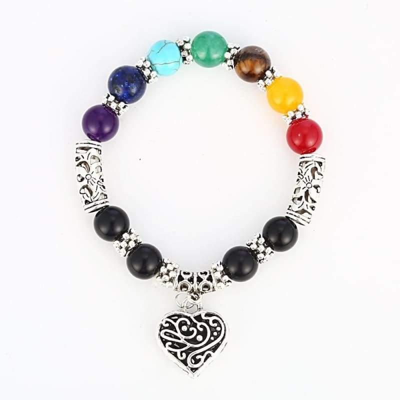 7 Chakra Healing Heart Charm Bracelets - multicolor - Charm Bracelets