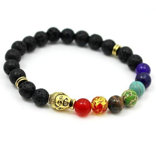 7 Chakras Diffuser Lava Rock Bracelet - buddha and lava - Charm Bracelets