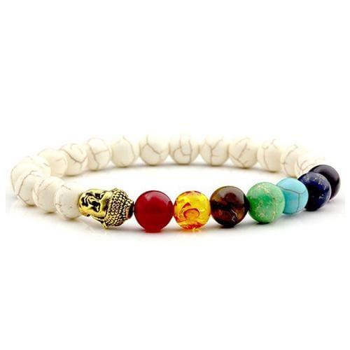 7 Chakras Diffuser Lava Rock Bracelet - buddha white stone - Charm Bracelets