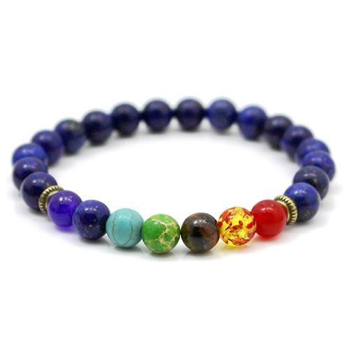 7 Chakras Diffuser Lava Rock Bracelet - deep purple stone - Charm Bracelets