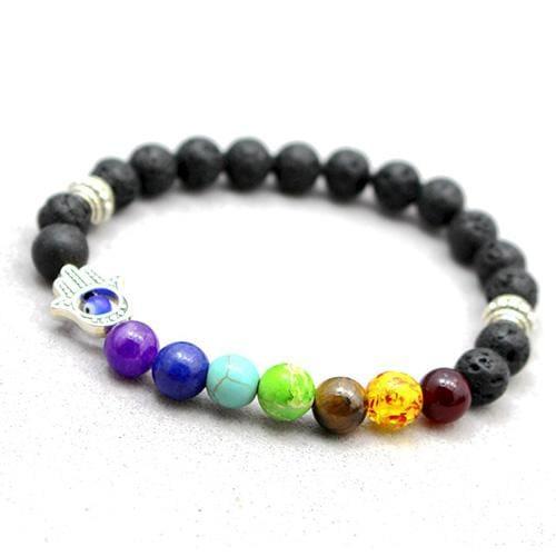 7 Chakras Diffuser Lava Rock Bracelet - hand - Charm Bracelets