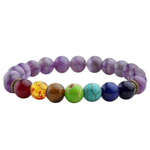 7 Chakras Diffuser Lava Rock Bracelet - light purple - Charm Bracelets
