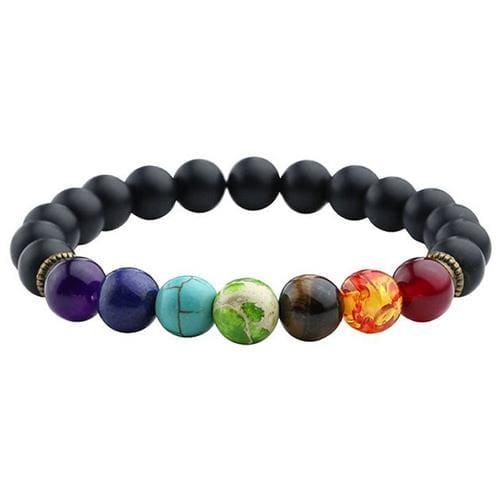 7 Chakras Diffuser Lava Rock Bracelet - scrub black stone - Charm Bracelets