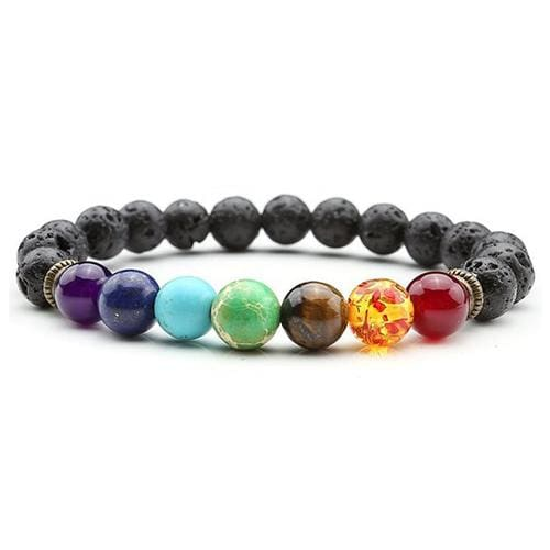7 Chakras Diffuser Lava Rock Bracelet - lava stone - Charm Bracelets