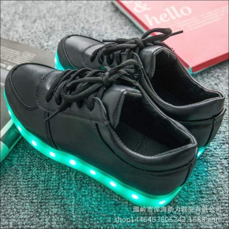 7 Colors Kid Luminous Sneakers - Black / 1 - LED Shoes