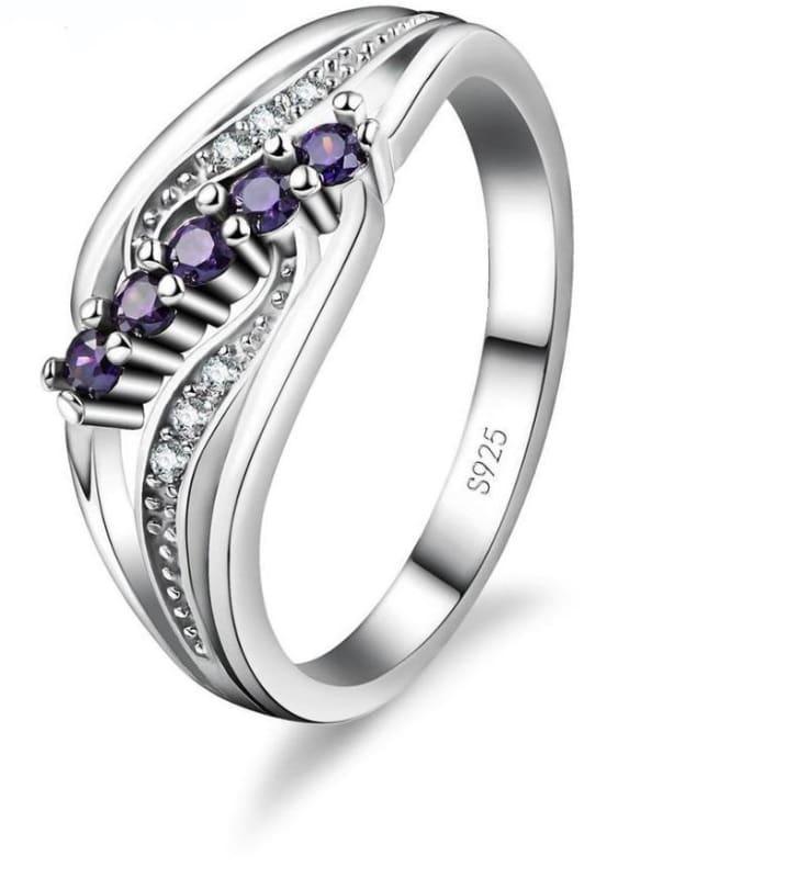 925 Silver Crystal Gem Ring - 6 / Purple - Rings