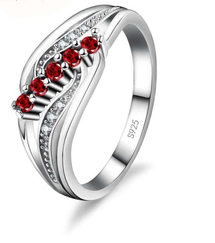 925 Silver Crystal Gem Ring - 6 / Red - Rings