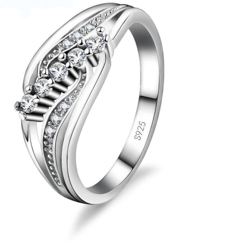 925 Silver Crystal Gem Ring - 6 / WHITE - Rings