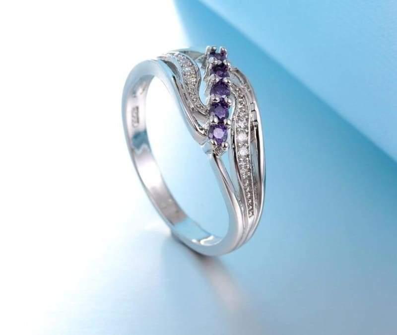 925 Silver Crystal Gem Ring - 7 / Purple - Rings
