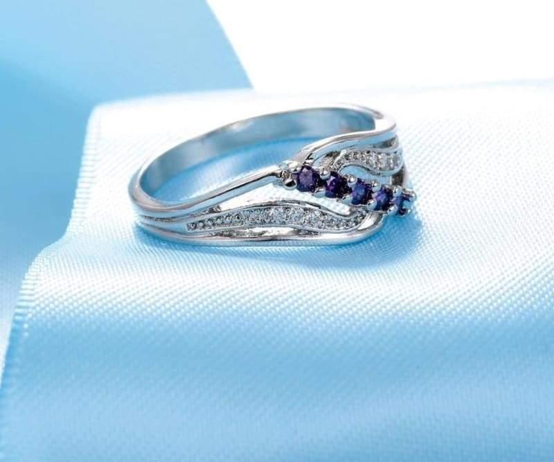 925 Silver Crystal Gem Ring - 9 / Purple - Rings