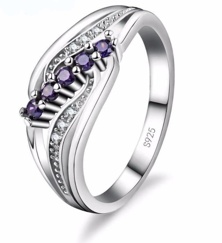 925 Silver Crystal Gem Ring - Rings