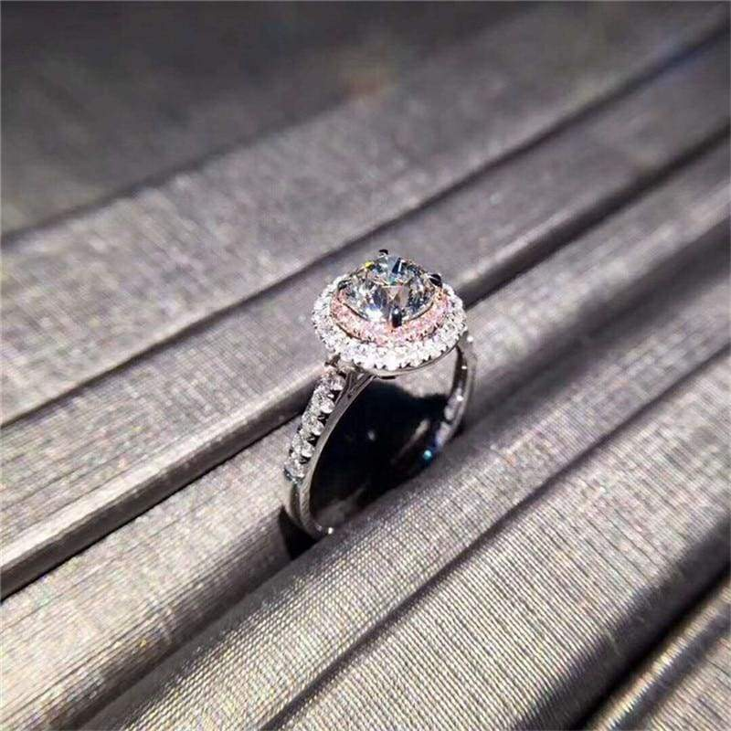 925 Silver Pink Stone Ring - Wedding Bands