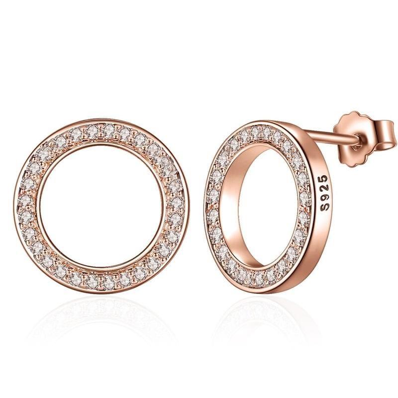 925 Sterling Circular Silver Stud Earrings - GOLD - Stud Earrings