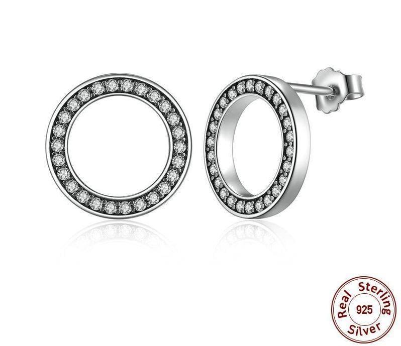 925 Sterling Circular Silver Stud Earrings - Stud Earrings