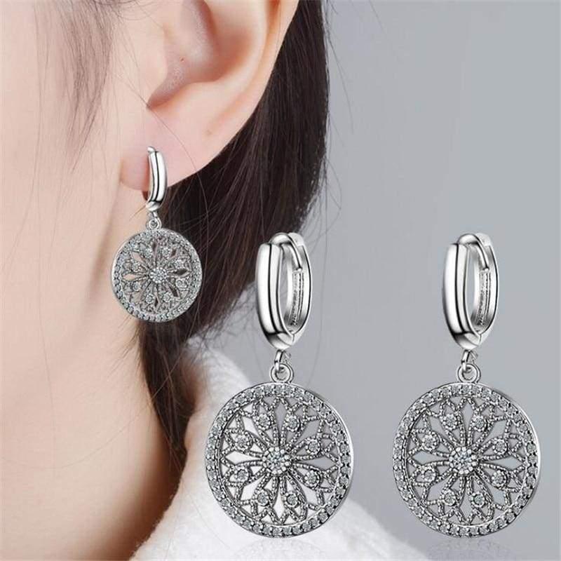 925 Sterling Dream catcher Silver Round Stud Earrings - Stud Earrings