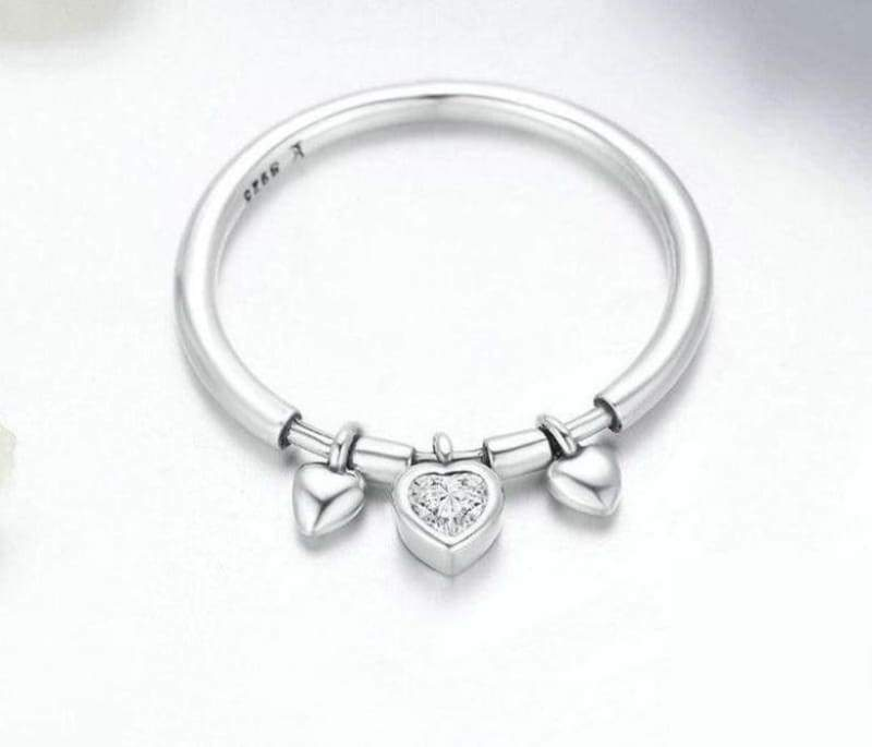925 Sterling Glittering Silver Heart Ring - 8 - Engagement Rings