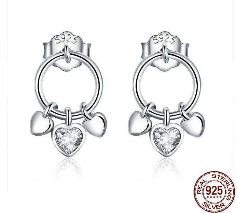 925 Sterling Heart to Heart Silver Stud Silver Stud Earrings - Stud Earrings