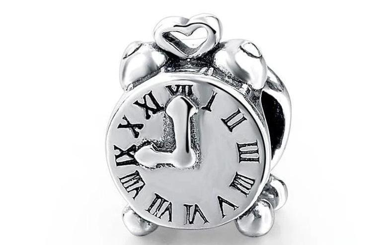 925 Sterling Silver Charms Beads - Clock Charm - Beads