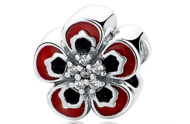 925 Sterling Silver Charms Beads - Red Flower Charm - Beads
