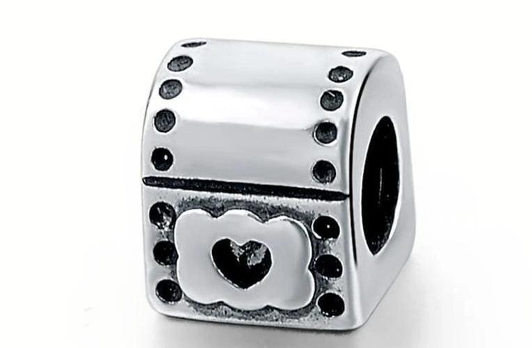 925 Sterling Silver Charms Beads - Treasure Box Charm - Beads