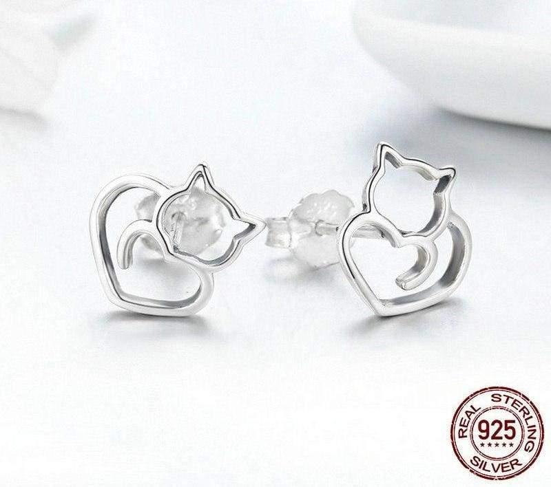 925 Sterling Silver Cute Cat Stud Earrings ( sterling silver charms ) Stud Earrings