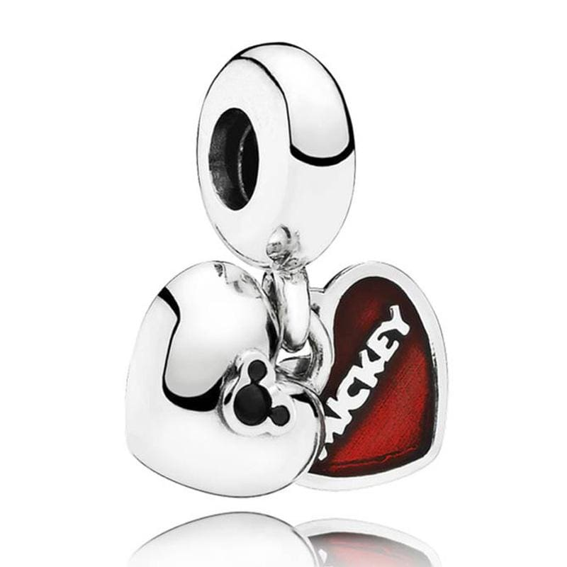925 Sterling Silver Love heart Bead charm - 3 - Charms
