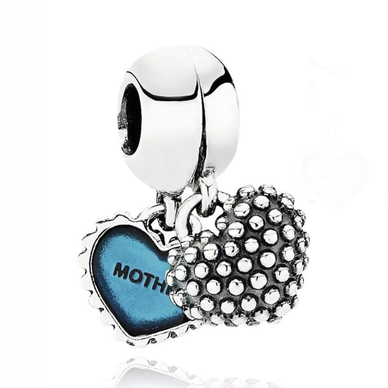 925 Sterling Silver Love heart Bead charm - 6 - Charms