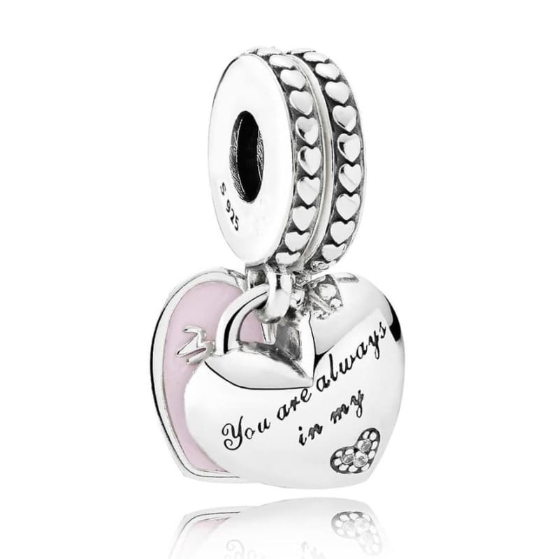 925 Sterling Silver Love heart Bead charm - 9 - Charms