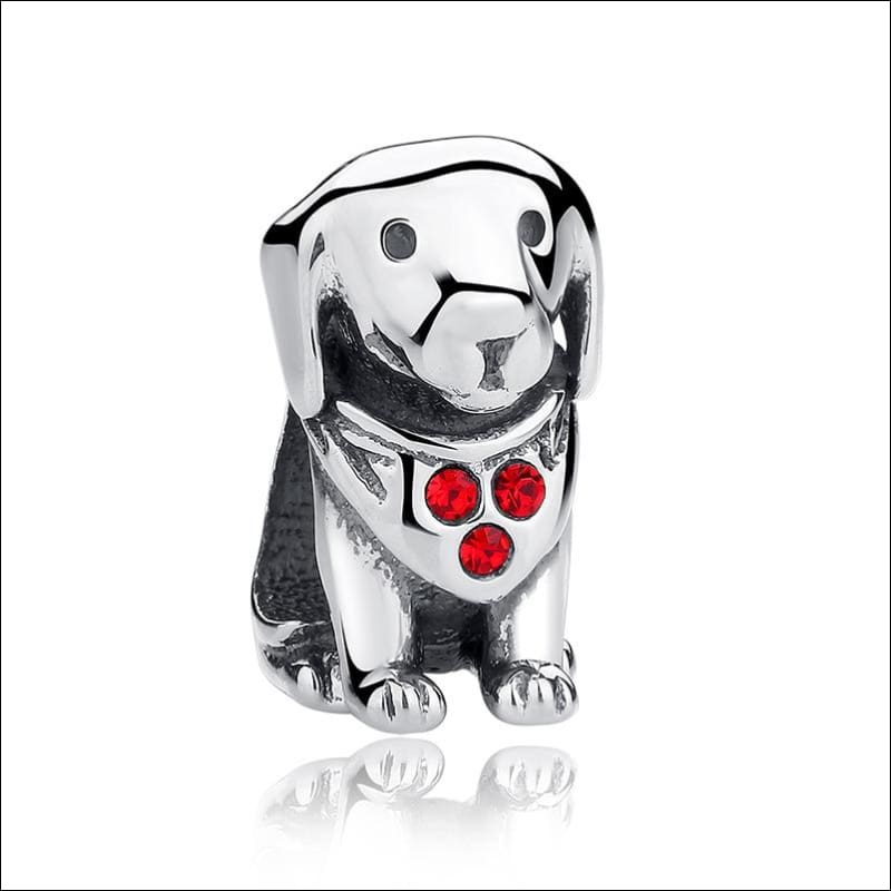 925 Sterling Silver Poodle Cute Puppy And French Bulldog Beads Charm - ECC016 - Beads