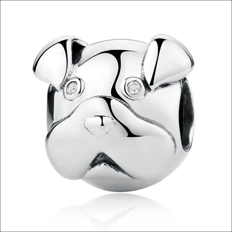 925 Sterling Silver Poodle Cute Puppy And French Bulldog Beads Charm - ECC097 - Beads